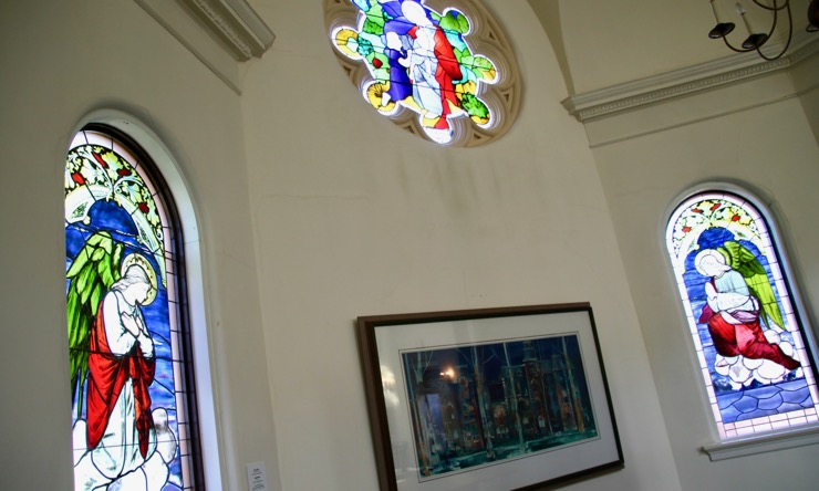 Stained glass windows at Ambrose Hall