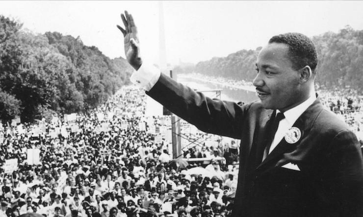 Martin luther king, jr. in front of a crowd