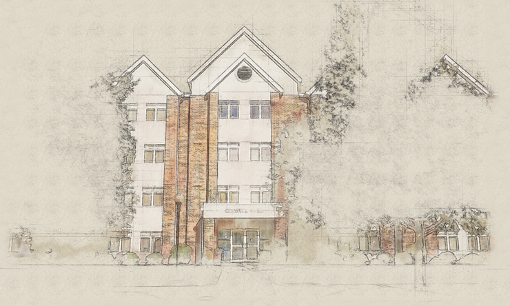 sketch of Bechtel Hall