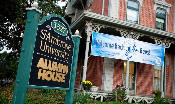 St. Ambrose University Alumni House; Welcome back bees sign