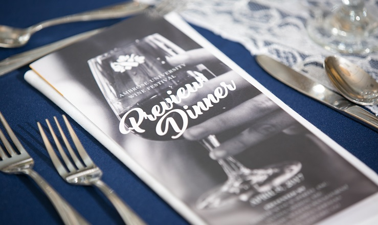 elegant place setting with Preview Dinner program