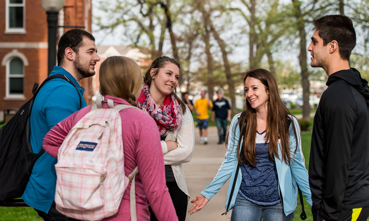 Students outside talking