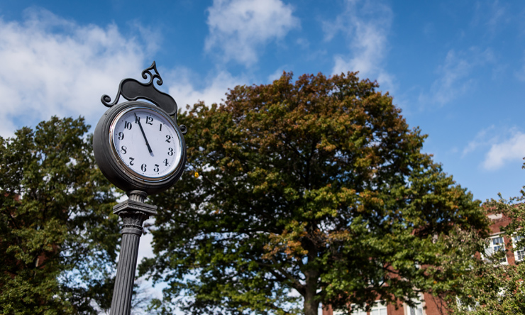 outdoor clock on campus