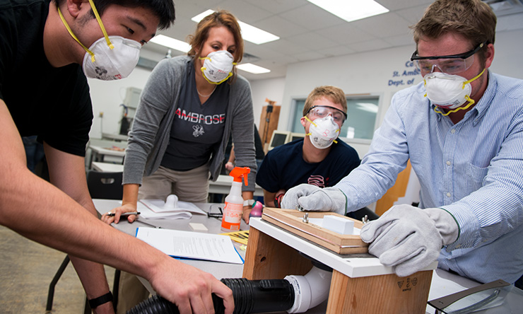 Students with dust masks